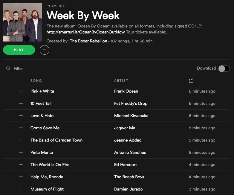 Week By Week playlist